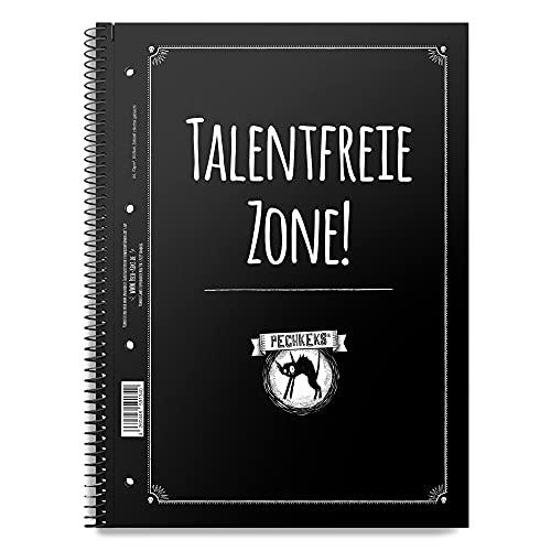 Pechkeks Cuaderno A4 cuadriculado con texto 'Talentfreie Zone', encuadernación en espiral, 80 páginas con borde interior, color negro