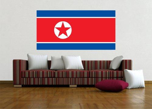 Kiwistar Wandtattoo Sticker Fahne Flagge Aufkleber Korea, Nord 120 x 60cm