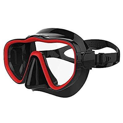 Kraken Aquatics Snorkel Dive Mask with Silicone Skirt and Strap for Scuba Diving, Snorkeling and Freediving | Red