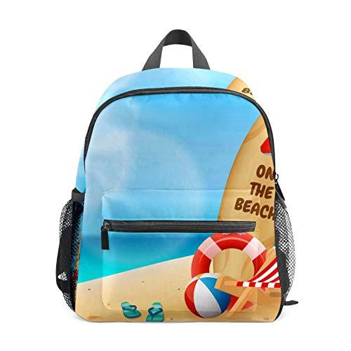 Backpack Student Bookbag for Kids Girls Boys,Summer-On-The-Beach Casual Daypack School Travel Bag Organizer Gift