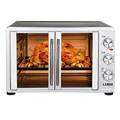 LUBY Large Toaster Oven Countertop, French Door Designed, 55L, 18 Slices, 14'' pizza, 20lb Turkey, Silver