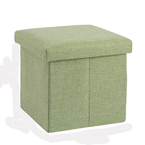 Ottoman Wddwarmhome Pouf Tabouret de Rangement Pliable en Tissu de Coton - Capacité de Charge Maximale 75kg (Couleur : Green, Taille : 30 * 30 * 30cm)