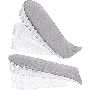 2 Pares de Inserción de Elevación de Talón Plantilla de Aumento de Altura Invisible Plantilla de Soporte de Talón de Silicona de 3 Capas Almohadilla Ajustable en Altura Cojín de Pie para Zapatos
