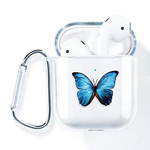 AKABEILA Airpods Hülle, Kompatibel mit Apple Airpods 2 & 1 Hülle Case Silikon Transparent Durchsichtig Air pods 1 Schutz hüllen Zubehör [LED Frontseite Sichtbar] [Stoßfeste Schutzhülle], Schmetterling