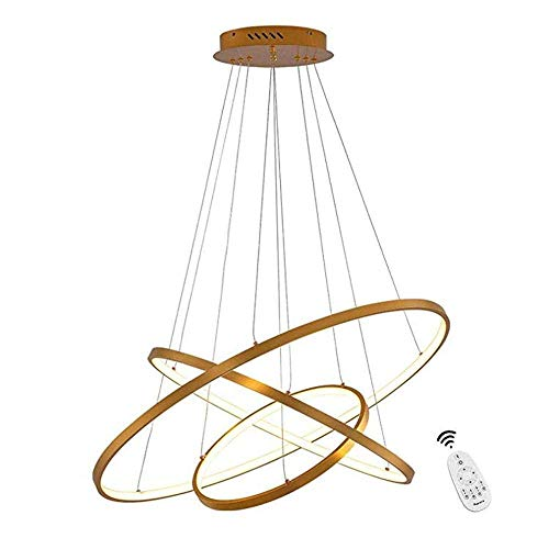 DXX-HR Ceiling Light,LED 60W Modern Pendant Light Dimmable ing Indoor 3- Ring Golden Design Lamp Dining Table Metal and Acrylic Hanging Light Fixture for Living Room Mit fernbedienung 20+40+60cm