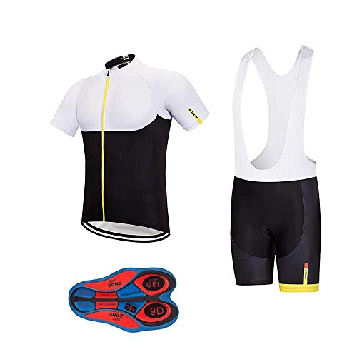 Men's Quick-Dry Cycling Jersey Set Road Bike Bicycle Shirt + Bib Shorts with 9D Gel Padded...