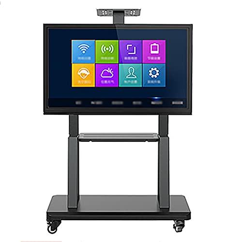 Carrito para TV, soporte para TV móvil con ruedas Carrito para TV con ruedas y altura ajustable con bandeja para pantallas de 40 a 75 pulgadas/Black / 70x43cm