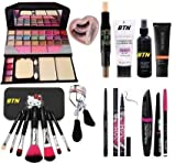 BTN Face Makeup Kit Brush set with TYA makeup kit,3D contour stick,Primer, Fixer, Foundation, Kajal, Waterproof 36H Sketch eyeliner and 3in1 Combo set and eyelashes with inside glue (Pack of 11)