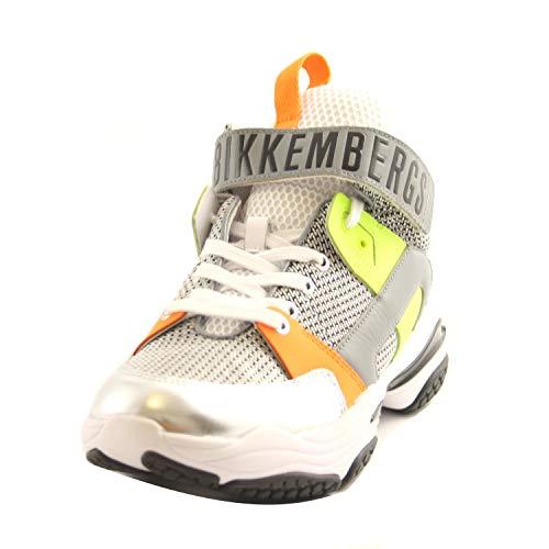 Bikkembergs Schuhe Sneakers gewölbt Gummi Herren Leder und Stoff Weiß Silber Multicolor B4BKM0043 White Silver, Mehrfarbig - Mehrfarbig - Größe: 43 EU