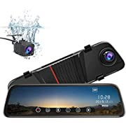 Mirror Dash Cam Front and Rear, 10 Inch Touch Screen Front 1080P Rear View 1080P Dual Lens 170 Degrees Wide Angle with Backup Camera G-Sensor Parking Monitor Motion Detection