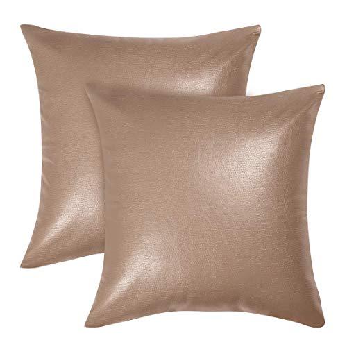 DyniLao Confezione da 2 fodere per cuscino quadrate in ecopelle, fodera per cuscino decorativa per divano divano letto, fodera per cuscino resistente 18'x 18', colore cammello