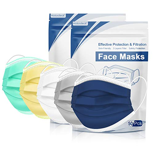 Disposable Face Mask, Colored Disposable Face Mask of 100 Pack Disposable Masks, Masks for Women, Men, Adult Use(Colorful03)