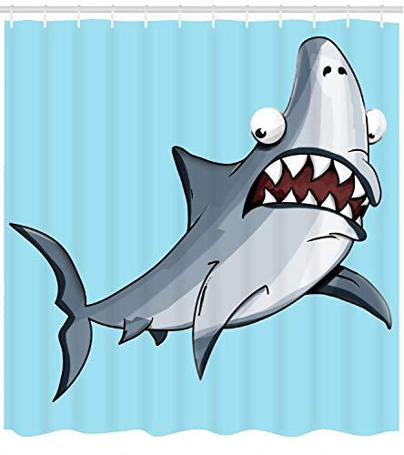Fourth Shore Hai-Duschvorhang mit lustigem Hai-Motiv auf buntem Ozeanblauem Hintergr&. Für Herren, Kinder, Jungen, Studentenwohnheim oder Strandhaus, mit Haken
