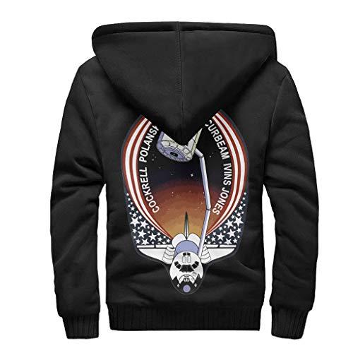 Zhcon Heren Lange Mouw Rits NASA Print Gewatteerde Hooded Jas Trui Herfst Winter Warm Hoodie Bovenkleding Tops met Zakken