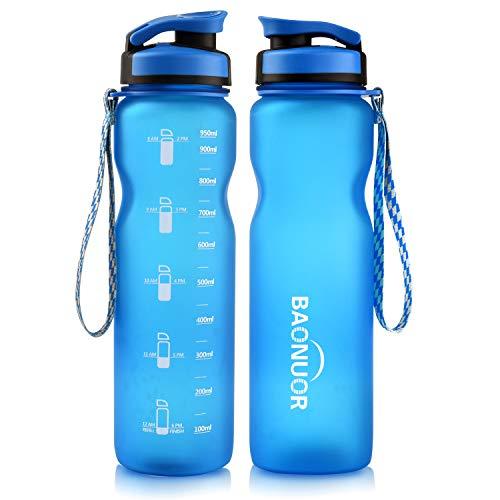 BAONUOR Trinkflaschen 1L, [BPA Frei ] Tritan Wasserflasche Auslaufsicher Sportflasche 1000ml für Fahrrad, Gym, Fitness, Camping, Uni, Yoga,Outdoor, Blau
