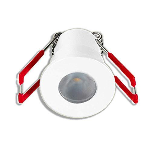 LEDUX 1W LED Mini Einbaustrahler Alu IP65 Wassergeschützt Warmweiß Dimmbar Minispots für Innen- und Außen, Terrassendach (Weiss, Einzeln, ohne Netzteil)