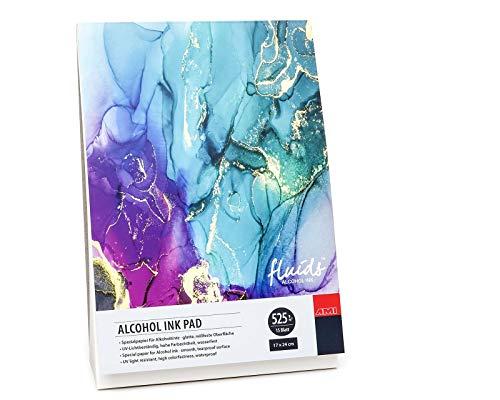 ARTSERVICE-TUBE Alcohol Ink Block, Alcohol-Tinte Block, Alkohol-Tinte Papier, Bogenware, 525g/m², DIN A5, Din A4, DIN A3 (17x 24 cm Block)