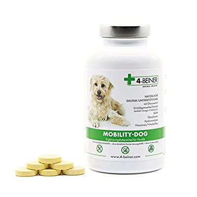 4-BEINER MOBILITY-DOG – natürliche Gelenk-Unterstützung mit Chondroitin, Glucosamin, MSM, Hyaluron, Weihrauch, Teufelskralle, Grünlipp-Muschel, Bromelain, Kurkuma, 120 Gelenk-Tabletten