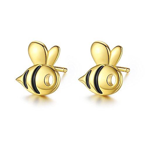 Pendientes de tuerca chapados en oro con forma de abeja de miel, plata de ley 925 con esmalte para mujeres y niñas