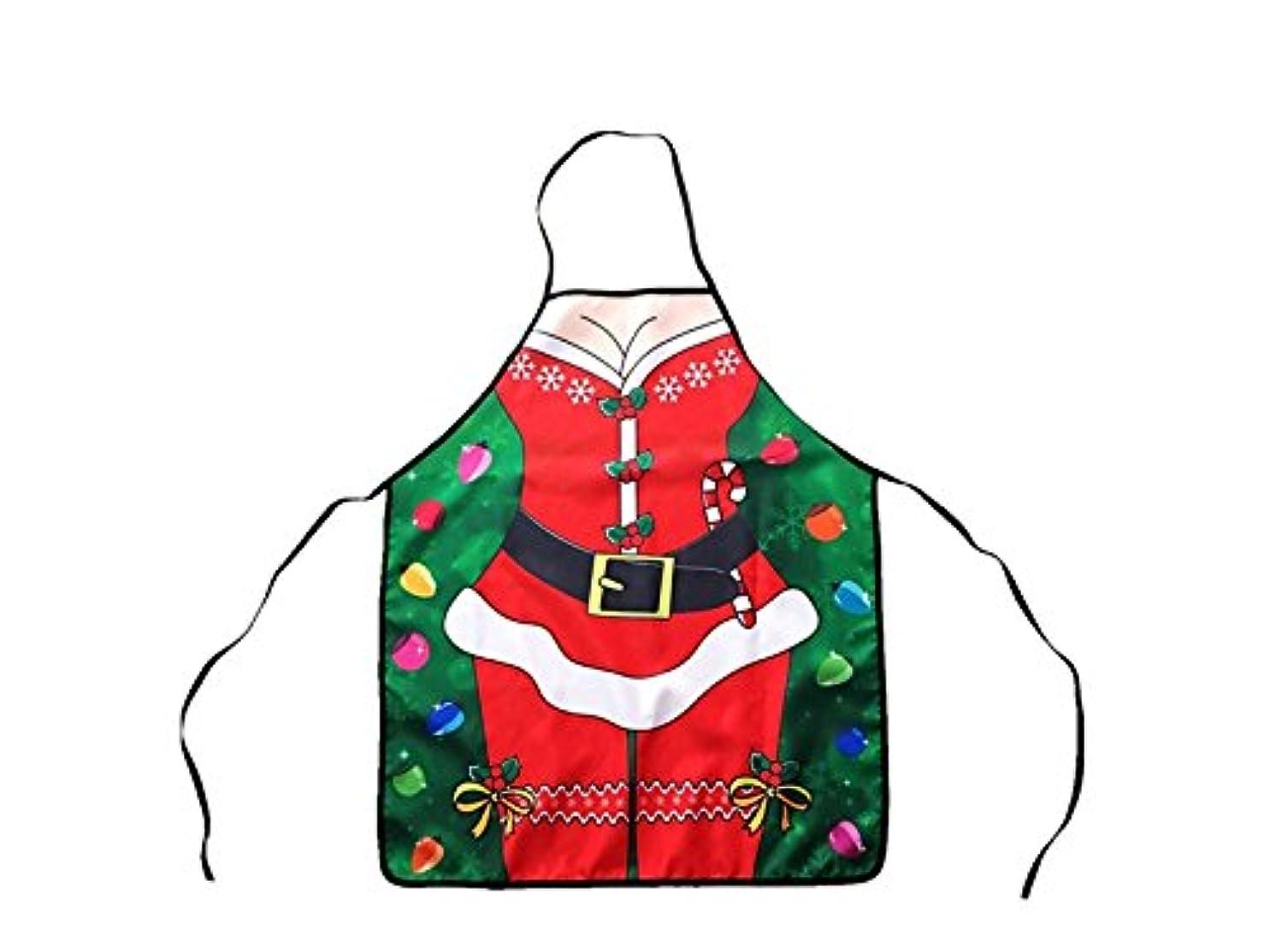 シネマ手つかずの郵便番号Osize にぎやか ノベルティ面白いセクシーなクリスマスエプロン吊りネックノースリーブパーティーコスプレエプロン女性と男のための