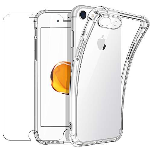 New&Teck Coque iPhone 7, Coque iPhone 8 (4,7) + [Verre Trempé Protection écran], Housse Etui pour iPhone 7/8 en Transparent Silicone TPU Souple [Bumper avec Coins Renforcés], Protection Claire.