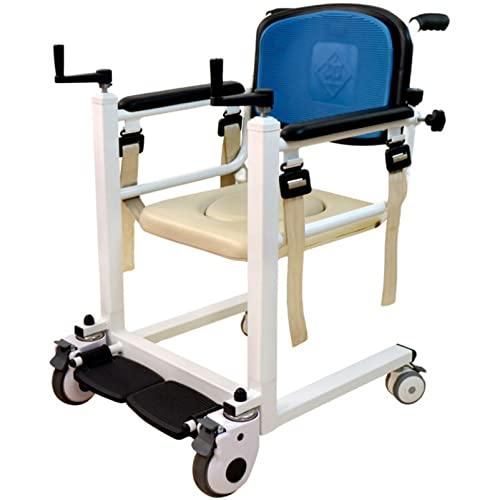 RGHS Multifunktionaler Pflegerollstuhl, Tragbare Patientenlifter-Transfermaschine, Mit 180° Geteiltem Sitz, Für Behinderte, Senioren, Ältere Menschen Im Bett Gelähmt Anhebbarer Schalthebel