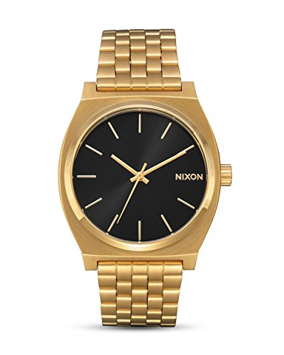 Nixon Time Teller Herrenuhr Analog Quarz mit Edelstahl Armband All Gold / Schwarz Sunray