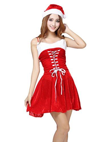 YOUJIA Donna Lady Abito Babbo Natale Vestito Senza Spalline Costume per Carnevale Travestimento Feste con Cappello