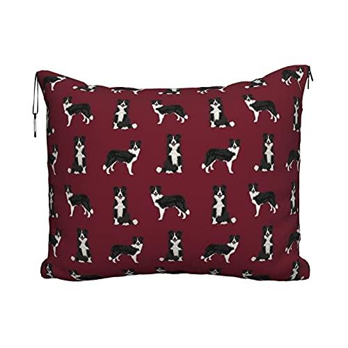 Manta de viaje portátil 2 en 1 para sofá de avión para coche, oficina, hogar, dormir siesta, Border Collie perro raza, mascota