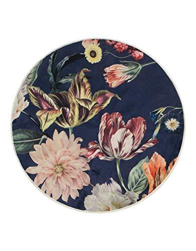 ESSENZA Teppich Filou Finest Blumen Pfingstrosen Tulpen Polyester Mischung Dunkelblau, rund Ø90 cm