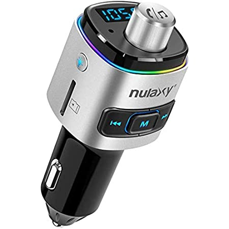 Nulaxy Car Fm Transmitter Bluetooth Qc3 0 Fm Transmitter Adaptor With 7 Colour Led Backlight Supports Siri Google Assistant Usb Drive Tf Card Hands Free Talking Navigation Car Hifi
