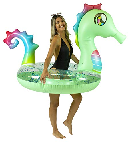 """Poolcandy Jumbo 48"""" Seahorse Pool Tube, Stylish, Ultra Durable, Easy-Inflate PVC Pool Tube, Great for Pool, Beach, Lake, River, Perfect for Kids and Adults"""