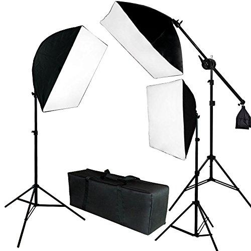 Lusana Studio 2000w Photograpy 3 Softbox Boom Stand Continuous Lighting Kit