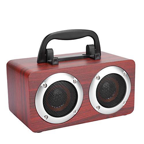 cigemay Altavoz portátil de Madera, Altavoces inalámbricos Bluetooth de Grano de Madera Rojo, Caja de Altavoz, Entradas de Audio compatibles, Recargable, Altavoz para teléfono, Tableta, PC