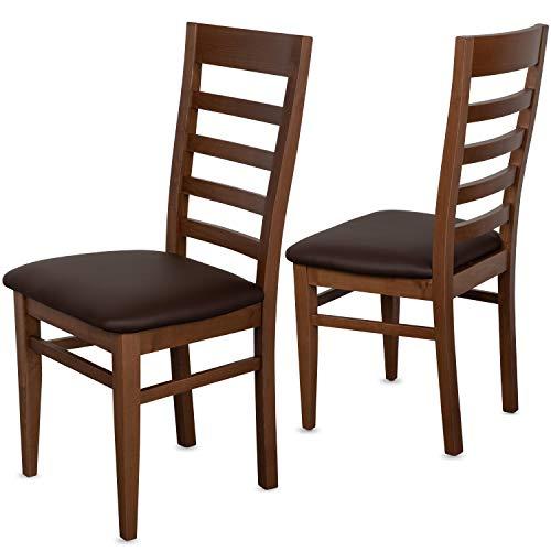 Staboos 2er Set Esszimmerstühle Leder CH62 - Stuhlset bestehend aus 2 Stühlen - Polsterstuhl bis 150 kg - Holzstuhl gepolstert (nussbaum - braun)
