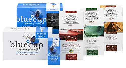 Nachfüllbare Kapsel für Nespresso Kaffeemaschine - wiederbefüllbare Kunststoff Nespresso Kapsel - Bluecup Premium Paket - Cupcreator, 8x Kaffeekapsel, 300x Aluminiumdeckel, 3x Kaffee 125gram