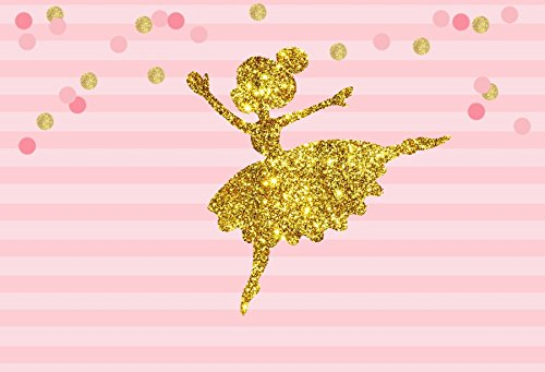YEELE 5x3ft Abstract Little Girl Ballerina in Tutu Dress Dancing Backdrop Baby Shower Party Decoration Photography Background Kid Girls Ballet Birthday Banner Photo Booth Photoshoot Props Wallpaper