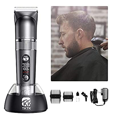 Hair Clippers for Men, TKTK Mens Hair Clippers Professional Hair Cutting Kit 3 Speed Cordless Hair Trimmer Beard Trimmer Barber Clippers, with Power Adapter, Charging Base & LED Display-Dark Grey