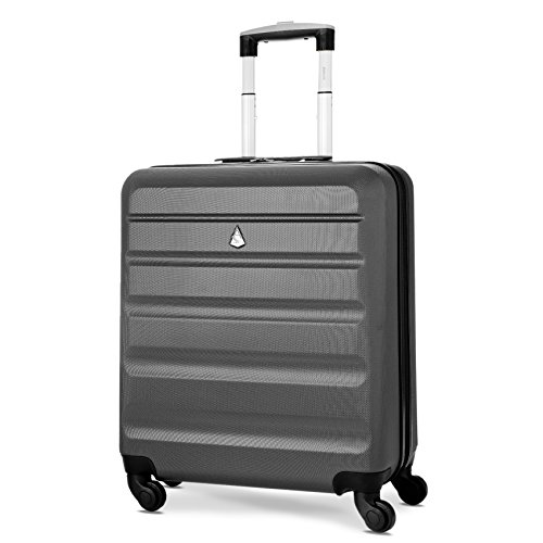 Aerolite 56x45x25 British Airways Jet2 easyJet Plus Flexi MAX ALLOWANCE 46L Hard Shell 4 Wheel Carry On Hand Cabin Luggage Suitcase 56x45x25 Charcoal