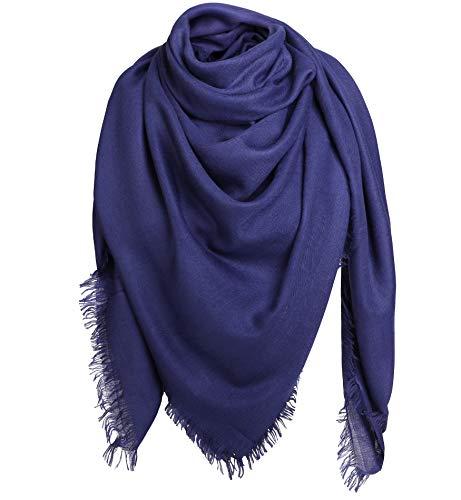 Alleza Damen Schal Schultertuch Quadratischer Deckenschal Halstuch Scarf mit Fransen 140 * 140cm