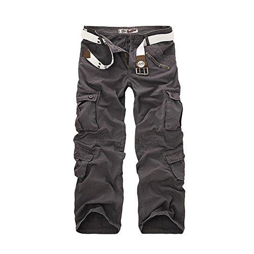 AYG Fit recta de carga pantalones casuales pantalones de trabajo de algodón militar para Hombres W34/L33(ES 44)34