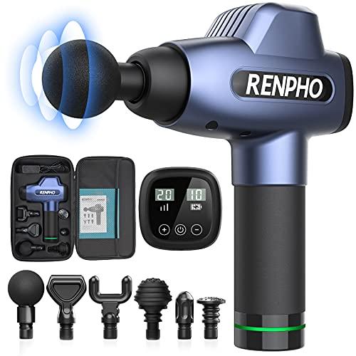 Massagepistole, RENPHO Massage Gun Muskelmassagegerät mit 20 Geschwindigkeitsstufen und 6 Massageköpfen, Schlagzeugmassagegerät für Fitnessstudio, Büro, zu Hause, nach dem Training und Sportler, Blau