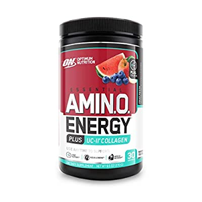 Optimum Nutrition Amino Energy + Collagen Powder - Pre Workout, Post Workout Muscle Recovery Energy Powder with Amino Acids, Vitamin C for Immune Support - Fruit Fiesta, 30 Servings
