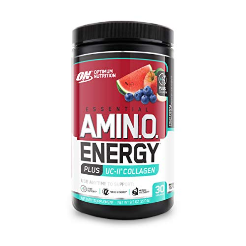 Optimum Nutrition Amino Energy + Collagen Powder - Vitamin C for Immune Support, Pre Workout with Green Tea, Amino Acids, Energy Powder - Fruit Fiesta, 30 Servings