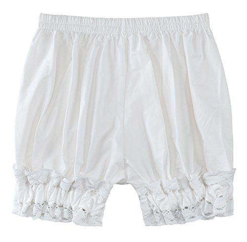 Sheface Women's Cotton Lace Hem Bloomers Lolita Shorts (X-Large, White)