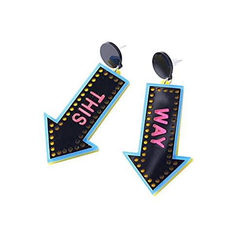 XCWXM Pendientes Colgantes de acrílico Personalizados con dirección This Way Joyas navideñas adecuadas para Chicas Hermosas Pendientes de Flecha Un Buen Regalo-Azul