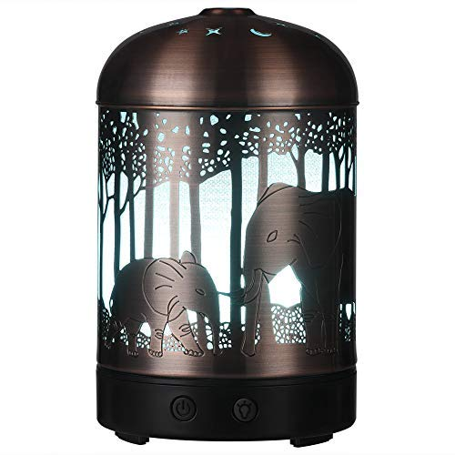 Essential Oil Diffuser -160ml Cool Mist Humidifier -7 Color LED Night Lamps -Crafts Ornaments All in 1 is the Upgrade Whisper-Quiet Ultrasonic Metal Elephant Humidifiers US 120V