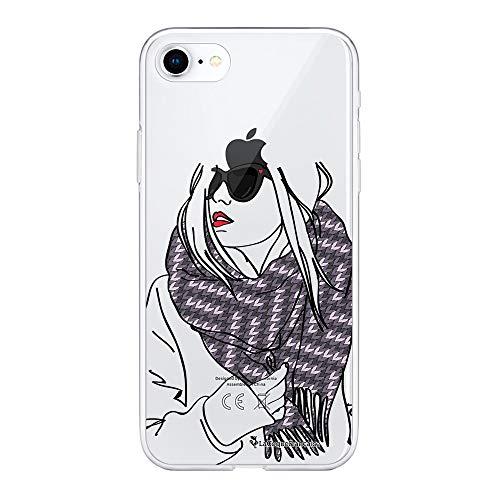 La Coque Francaise Coque Compatible avec iPhone 7/8 Souple Silicone Solide Ultra Resistant Fine Protection Housse Etui Transparente Echarpe Motif Tendance.