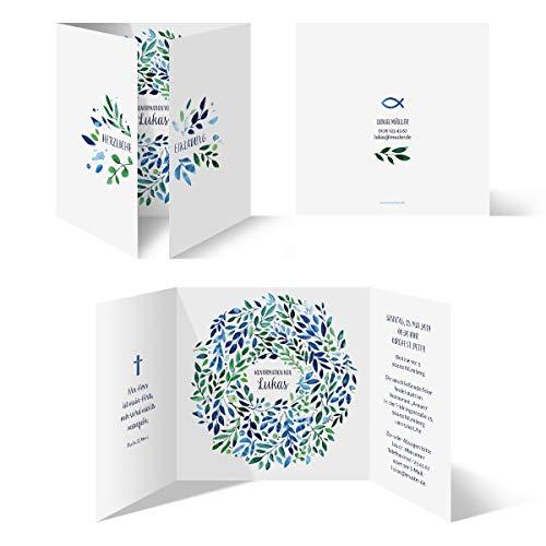 10 x Konfirmation Einladungskarten individueller Text Quadrat Altarfalz Klappkarten - Spiralkranz