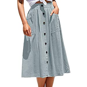 Women's Casual  A-line Skirt Midi Skirt with Pocket